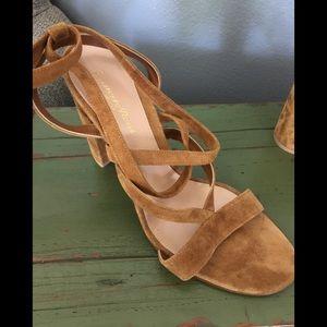 Suede lace up sandal